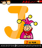 letter j with jester cartoon illustration