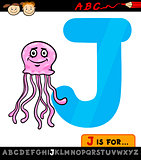 letter j with jellyfish cartoon illustration