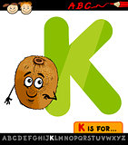 letter k with kiwi cartoon illustration