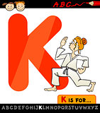 letter k with karate cartoon illustration