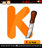 letter k with knife cartoon illustration