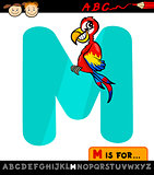 letter m with macaw cartoon illustration