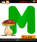 letter m with mushroom cartoon illustration