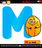 letter m with melon cartoon illustration