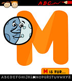 letter m with moon cartoon illustration