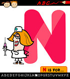 letter n with nurse cartoon illustration