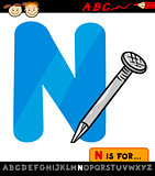 letter n with nail cartoon illustration