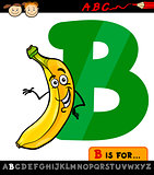 letter b with banana cartoon illustration