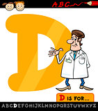 letter d with doctor cartoon illustration