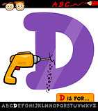 letter d with drill cartoon illustration