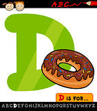 letter d with donut cartoon illustration