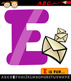 letter e with envelope cartoon illustration