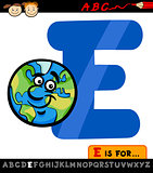 letter e with earth cartoon illustration