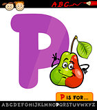 letter p with pear cartoon illustration