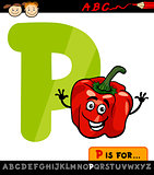 letter p with pepper cartoon illustration