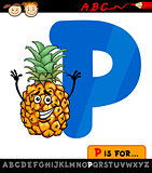 letter p with pineapple cartoon illustration