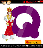 letter q with queen cartoon illustration