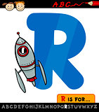 letter r with rocket cartoon illustration