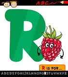 letter r with raspberry cartoon illustration