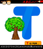 letter t with tree cartoon illustration
