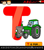 letter t with tractor cartoon illustration