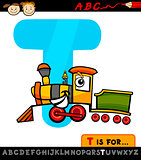 letter t with train cartoon illustration