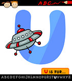 letter u with ufo cartoon illustration