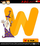 letter w with wizard cartoon illustration