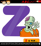 letter z for zombie cartoon illustration