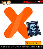 letter x with x-ray cartoon illustration