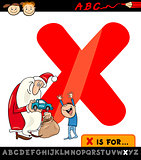 letter x with xmas cartoon illustration
