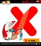 letter x with xmas cartoon illustration