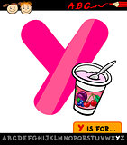letter y with yogurt cartoon illustration