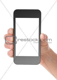 Black communicator in hand
