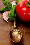 Spoon with Olive Oil and vegetables