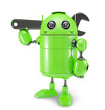 Android with wrench. Repair concept