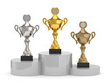 trophy cups standing