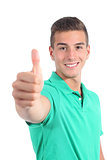 Handsome teenager boy with thumb up isolated