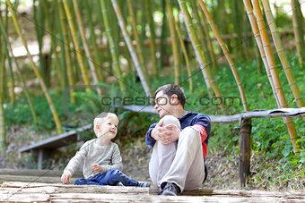 family at the garden
