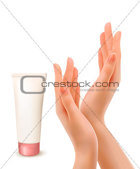 Beautiful female hands with tube of cream. Vector.