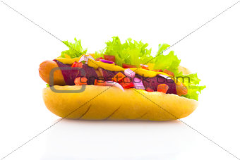 bacon hot dog isolated in white background