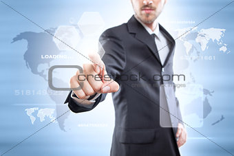 Businessman touching the screen with icons