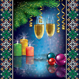 Christmas greeting with champagne and decorations