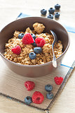 Cereals with blueberries and raspberries