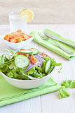 Healthy Salad with tomato, onion, cucumber and lettuce
