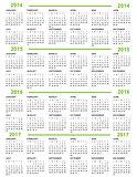 Calendar, New Year   2014, 2015, 2016, 2017