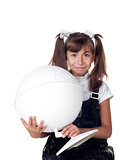 Cute little girl with globe. School portrait.