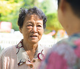 Asian senior women having conversation