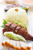 Roasted duck and roasted pork crispy siu yuk rice