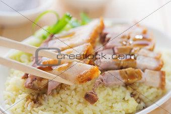 Siu Yuk - Chinese roasted pork rice